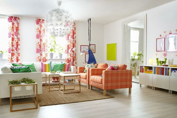 Living Room with Spring Colors. Beautiful curtains, the brown  sofa and the rainbow pillows refresh this living room and let you enjoy the warm days ahead. The oversized pendant light also brings out the POP.
