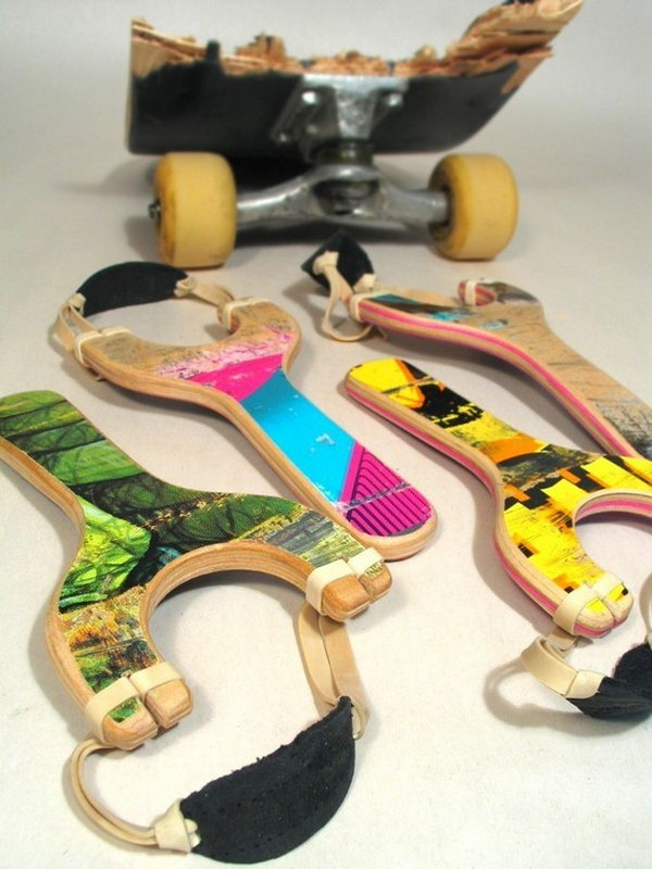 Skateboard Slingshots: Boys are always in love with slingshots. What's better gifts for them than these little slingshots made from old skateboard decks. The pouches are made from scrap leather, and the latex rubber bands are a standard office size.
