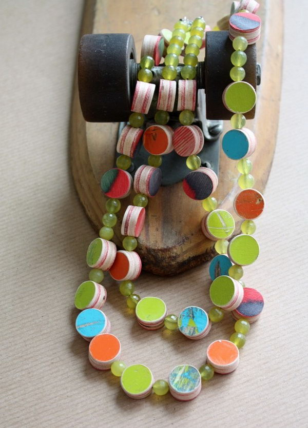 Repurposed Skateboard Necklace: If your daughter's broken skateboard means a lot to her and you have a difficulty to throw old stuffs away. Maybe you can repurpose it to make a beautiful necklace like this for her to wear everyday.