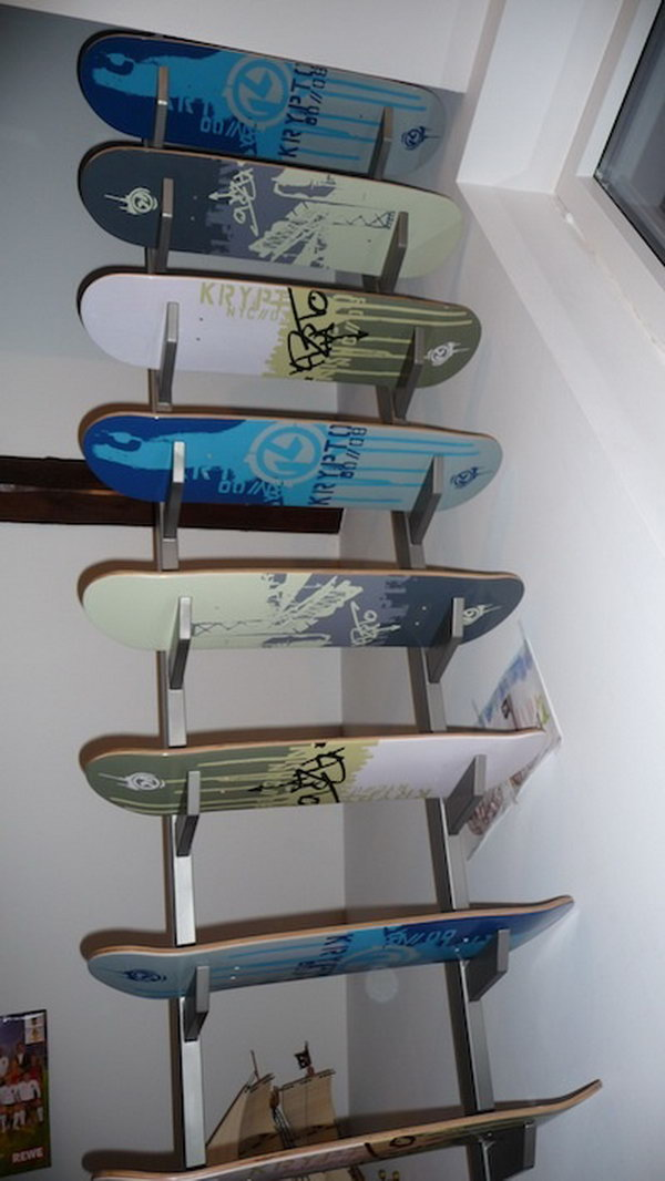 Recycled Skateboard Decks Stairs: If you don't want to spend a lot of money for your new stairs, you can make them with recycled skateboard decks. And the result is you can have the coolest stairs that will make your friends envious.