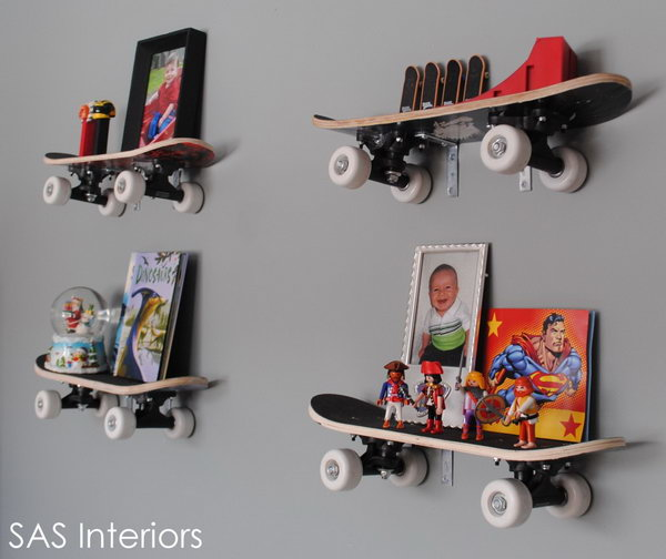 Repurposed Skateboard Shelves: Install shelves using old skateboards in the kids' room, you can get a room unique and different. The shelves are really decorative and very functional at the same time. See more details