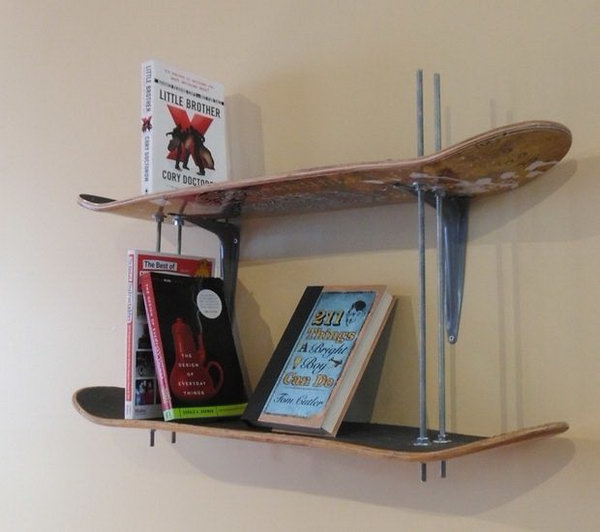 Skateboard Bookshelf: This adjustable-height bookcase was made with some old skateboard decks, thread, some bolts and it's easy to recreate. I like that the height is adjustable and the all thread works as book ends. See the instructions