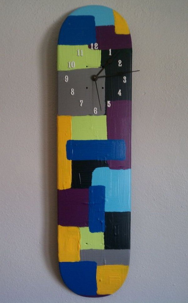 Repurposed Skateboard Deck Wall Clock: If you have a skateboard that is broken, then you need not worry as you can make this easy-to-make but extremely cool wall clock. See more details