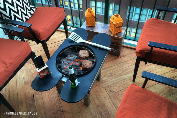 Skateboard Deck Grill: This skateboard deck grill is a crazy amazing thing for a small space. What is cooler than sitting down to enjoy your beer and barbecue in your small patio, when you don't even need to go outside. See more details
