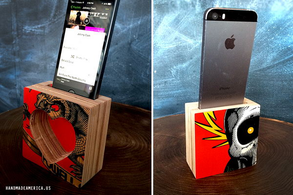 DIY Repurposed Skateboard Iphone Speaker or Amplifier: Cut your old skateboard decks into a few pieces and then adhered them together to create a sound chamber. Finish it by creating a slit at the top to slip your iPhone into. And you'll get the coolest custom made iphone speaker. See more details