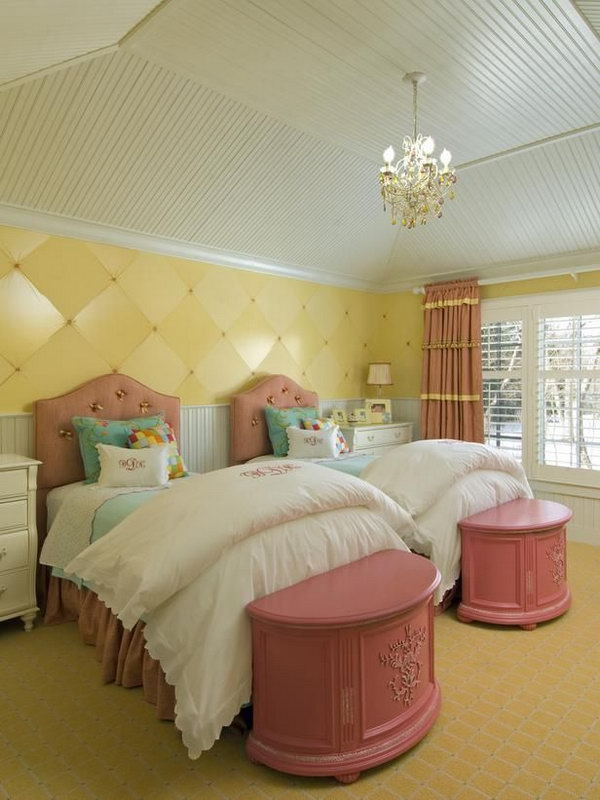 40 cute and interestingtwin bedroom ideas for girls for Cute bedroom decorating ideas for girls