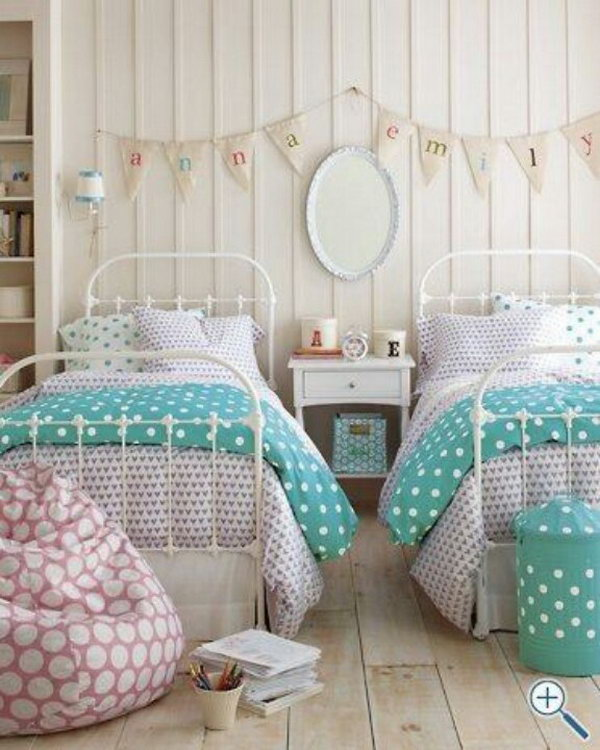 40 cute and interestingtwin bedroom ideas for girls for Pretty decorations for bedrooms