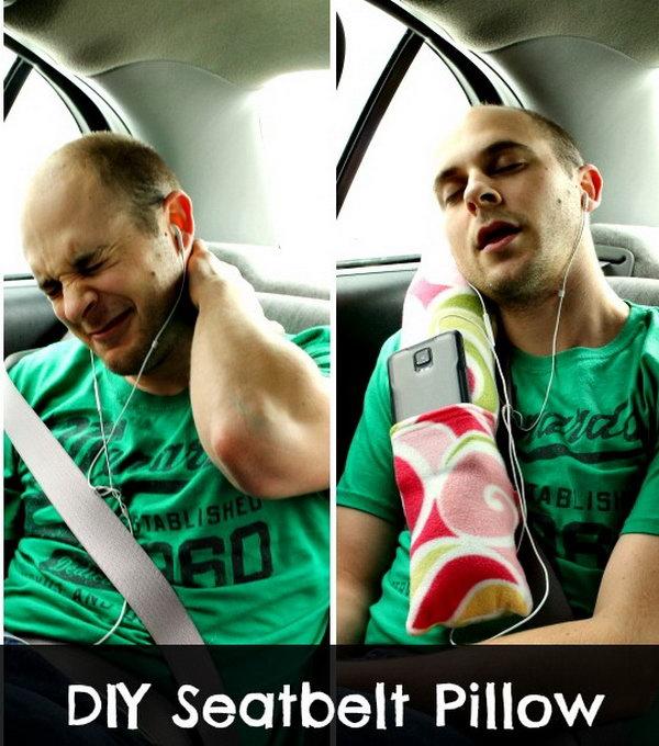 DIY Comfortable Seat-belt Road Trip Car Pillow.