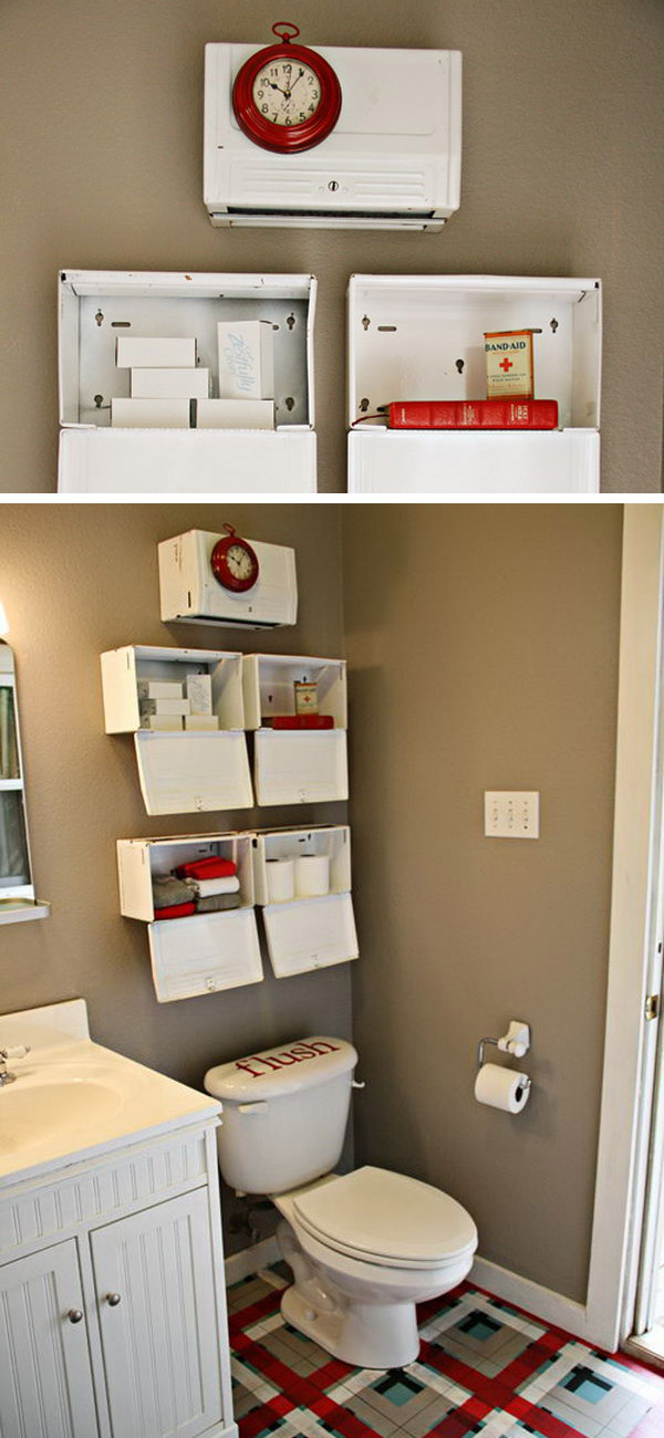 Over the toilet storage ideas for extra space for Bathroom over the toilet shelf