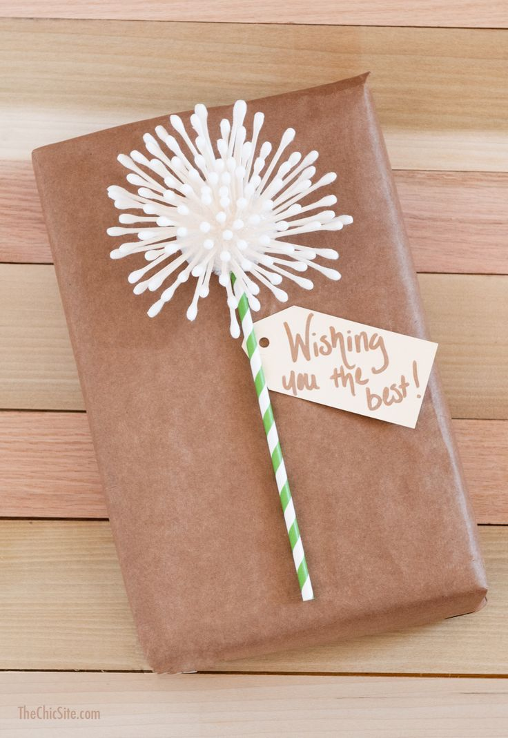DIY Q-tip Dandelion Gift Wrapping