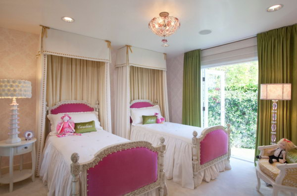 attic lights a good idea - 40 Cute and InterestingTwin Bedroom Ideas for Girls