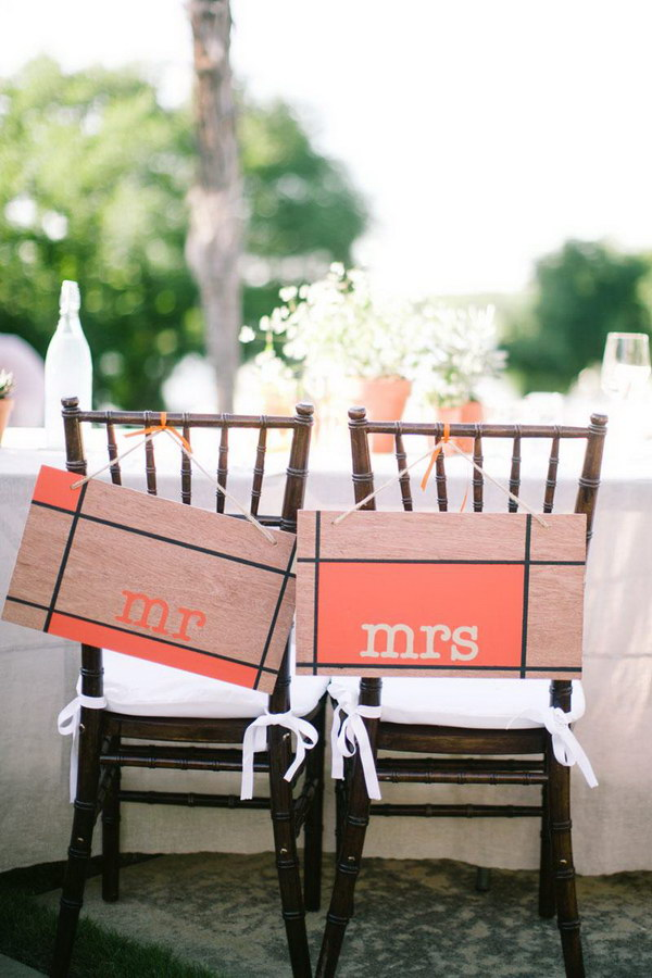 Rustic Orange and Wood Chair Signs.