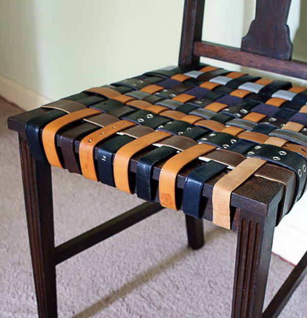 DIY Woven Belt Seat. Get the tutorial