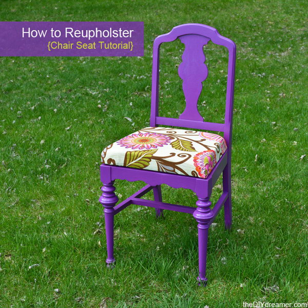 DIY Reupholster Chair. Get the steps