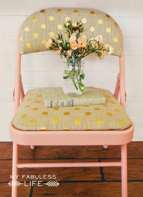 Folding Chairs Makeover with Pink and Gold Metallic Polka Dots. Get more details