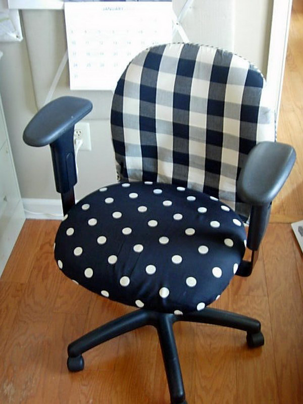 Office Chair Makeover with Fabric. Get more directions