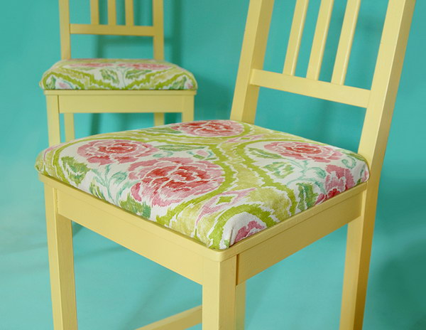 IKEA Hacks: Adding Upholstered Cushions to Chairs. Get the tutorial