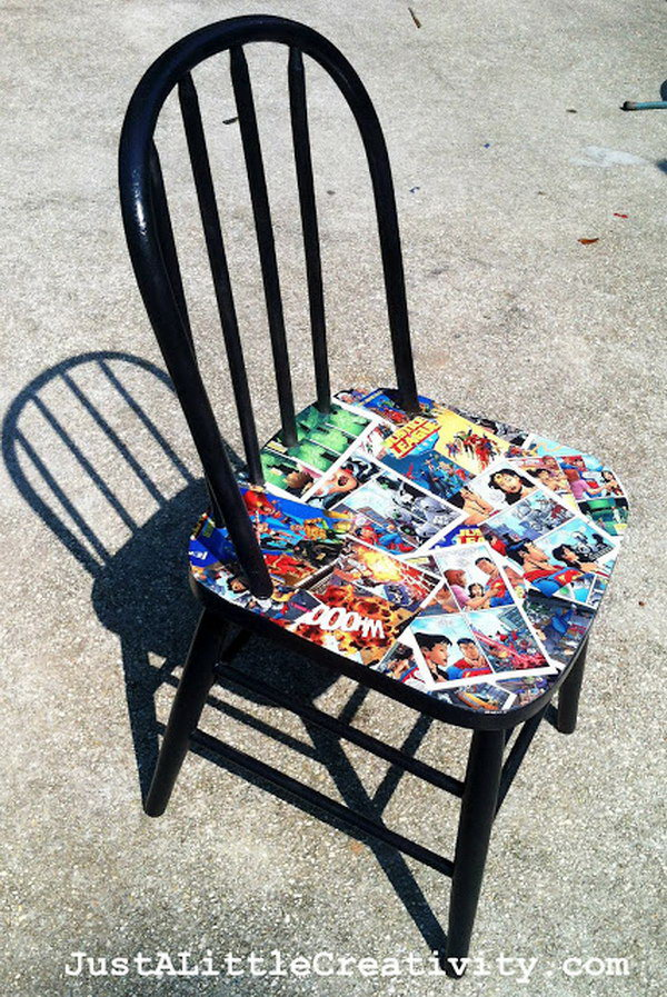 Chair Makeover with Comics, Spray paint and Mod Podge. See more directions