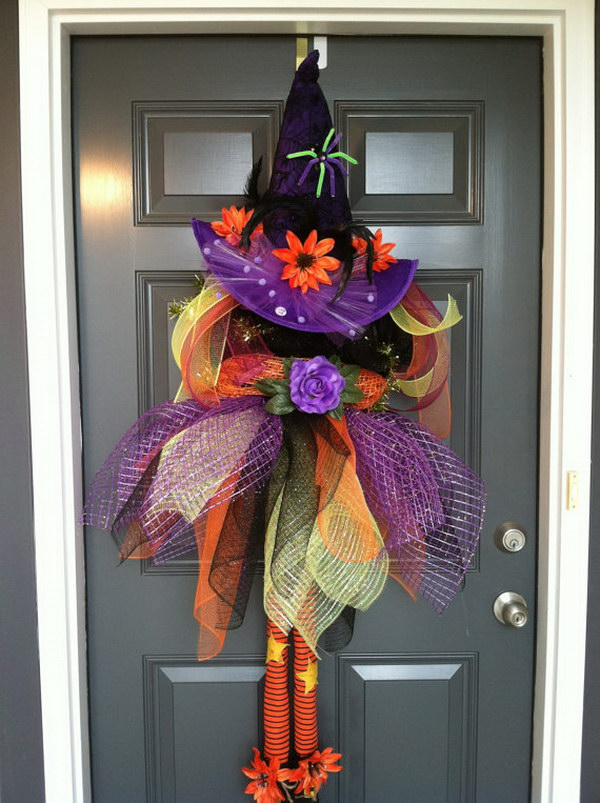 Fun and creative diy halloween witch wreath ideas - Interesting diy halloween wreaths home ...