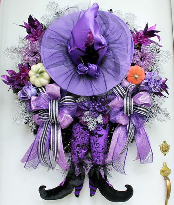 Adorable Purple Witch Halloween Wreath.