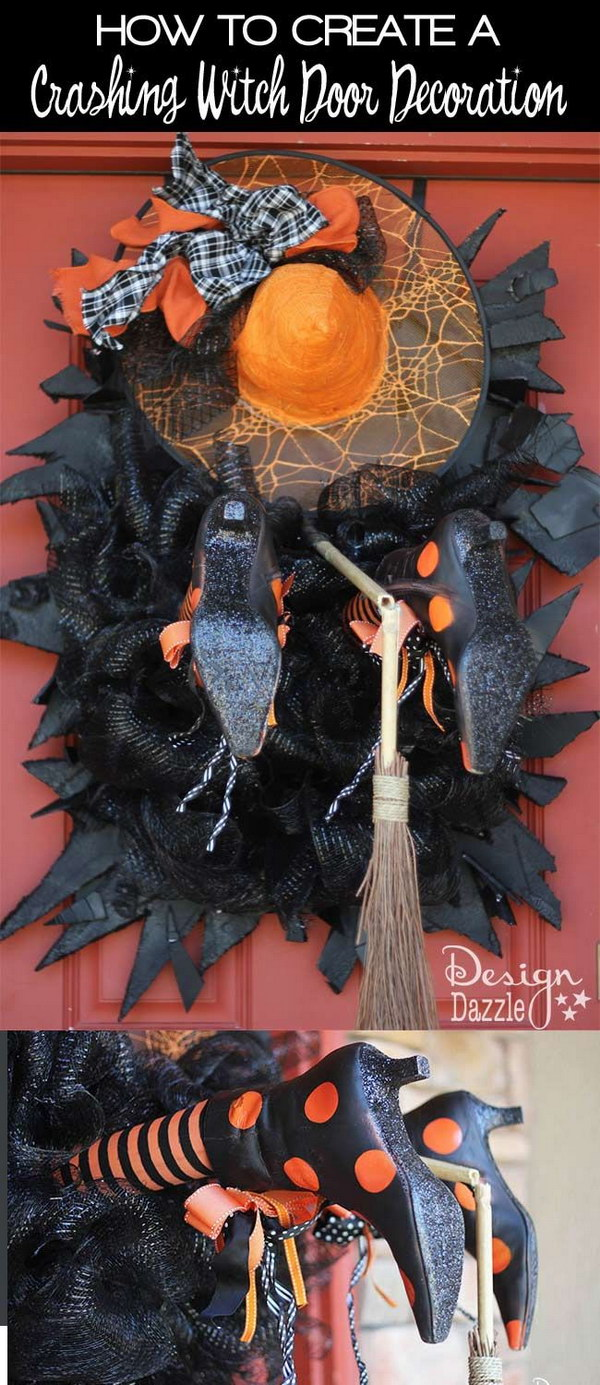 DIY Crashing Witch Door Wreath .