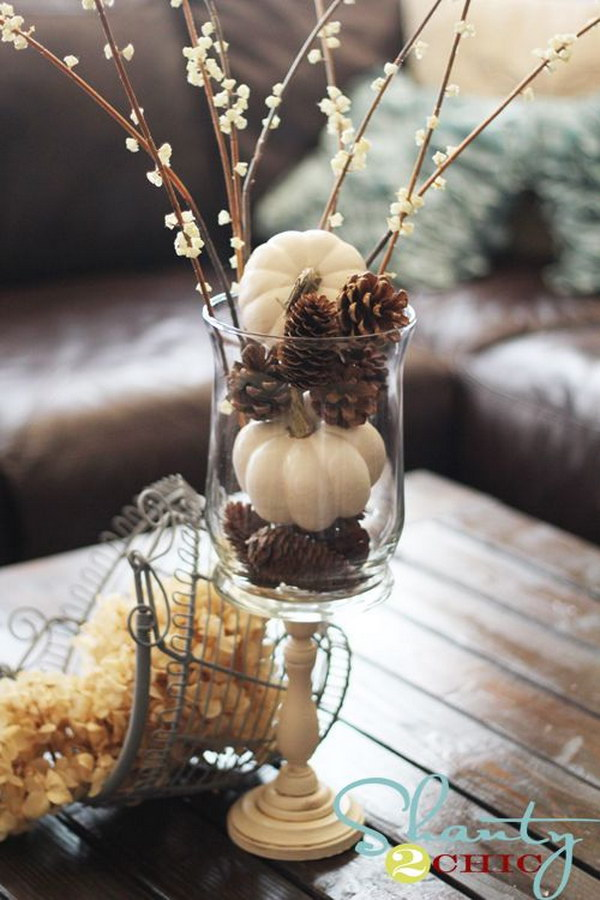 White Pumpkins and Pine Cones.