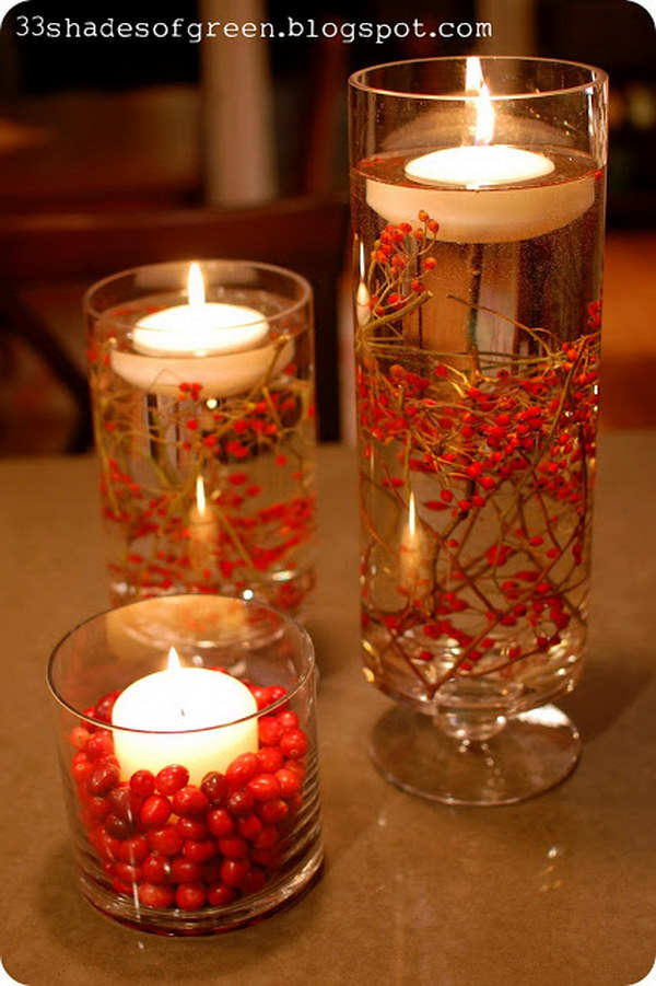 Easy Fall Centerpiece with Fresh Berries and Floating Candles.