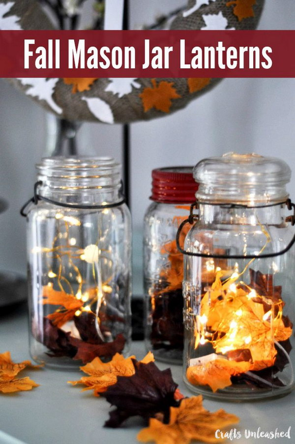 DIY Fall Decor Mason Jar Lanterns. Beautiful, festive and awesome! They are a beautiful and easy way to add some fall color and festivity to nearly any space in your home-your mantel, bookshelf, entryway table, anywhere!