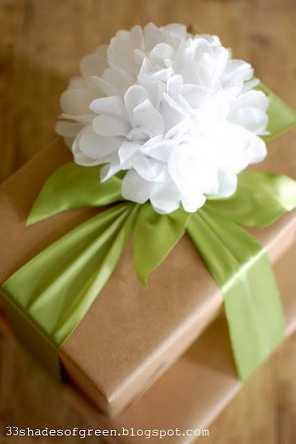 DIY Tissue Paper Flower for Gift Topper .
