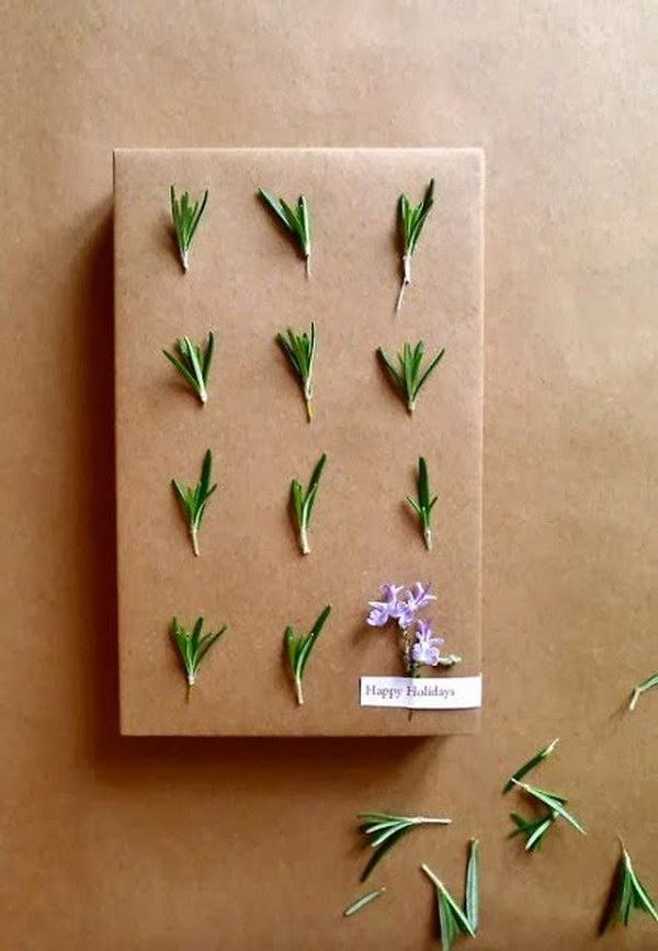 DIY Rosemary Gift Wrapping.