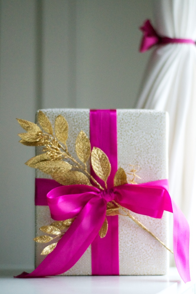 Pink Bow with Gold Glittery Branch Gift Wrapping.