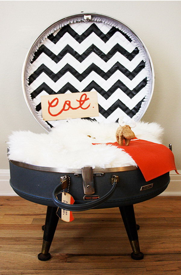 Turn an Old Suitcase to the Cutest Cat Bed.