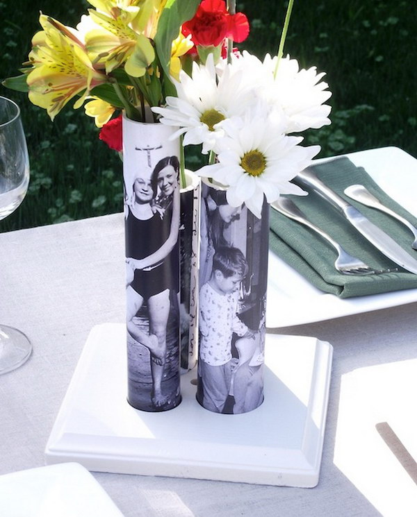 Photo Decorated PVC Pipe Vases. Perfect for Mother's Day gift. Learn how to make it