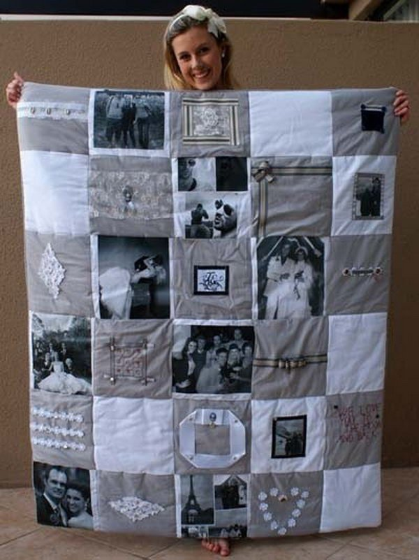 Photo Memory Quilt. Collect some cherish photos and make this unique memory quilt to give your best friend as a birthday present or graduation gift. Making one quilt like this requires some patience and skills. Get more details