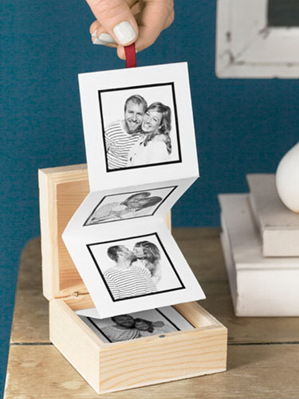 DIY Pull Out Photo Album. A simple wood box and an accordian folded photos of you and your lover make a great surprise on Valentine's Day.