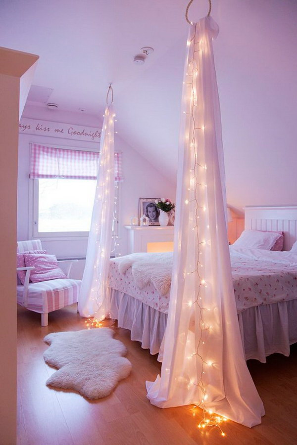 Starry Bed Post with String Lights.