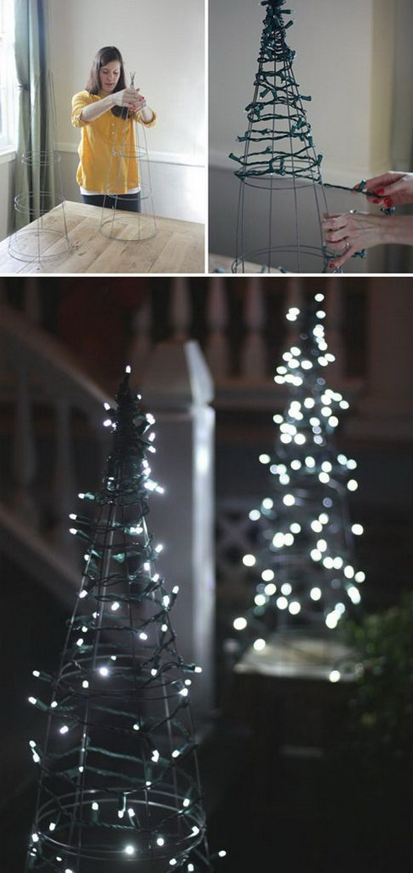 In a child's room or a hallway, a string-light tree is as festive as an evergreen. Use adhesive hooks to hang mini lights adorned with felt star ornaments that twinkle.
