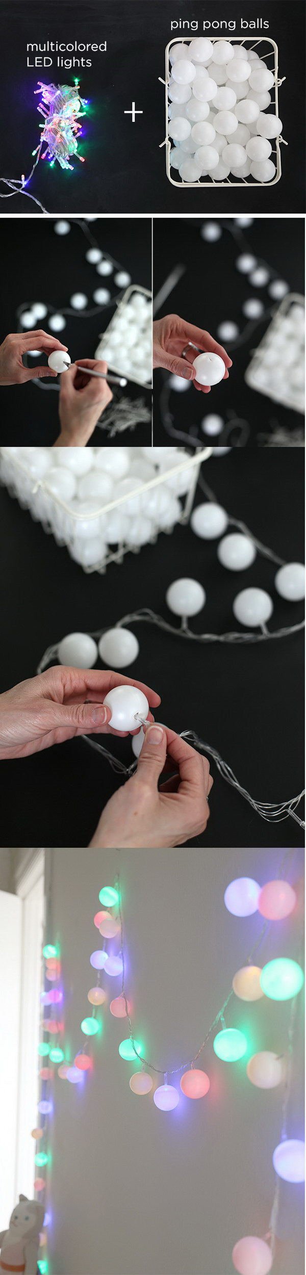 DIY Ping Pong Ball Light Garland.