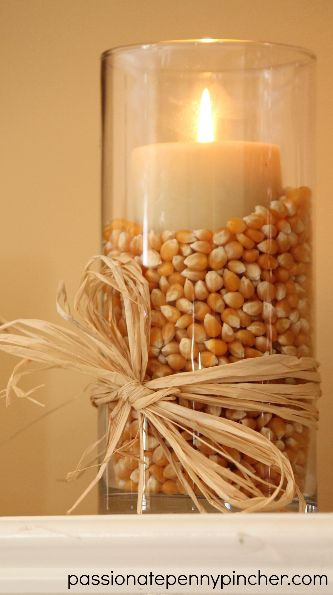 Popcorn-filled Vases for Fall or Thanksgiving.