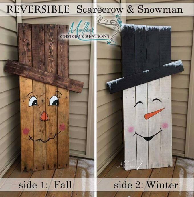 Reversible Pallet Scarcrow & Snowman.