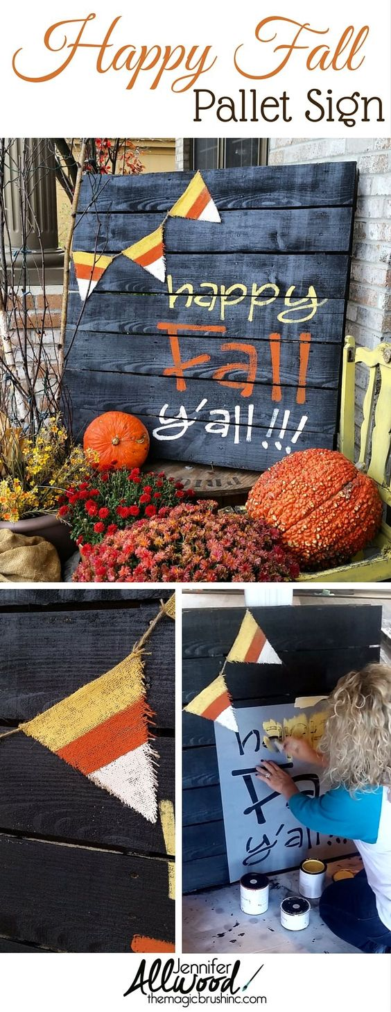 DIY Painted Fall Pallet Decoration.