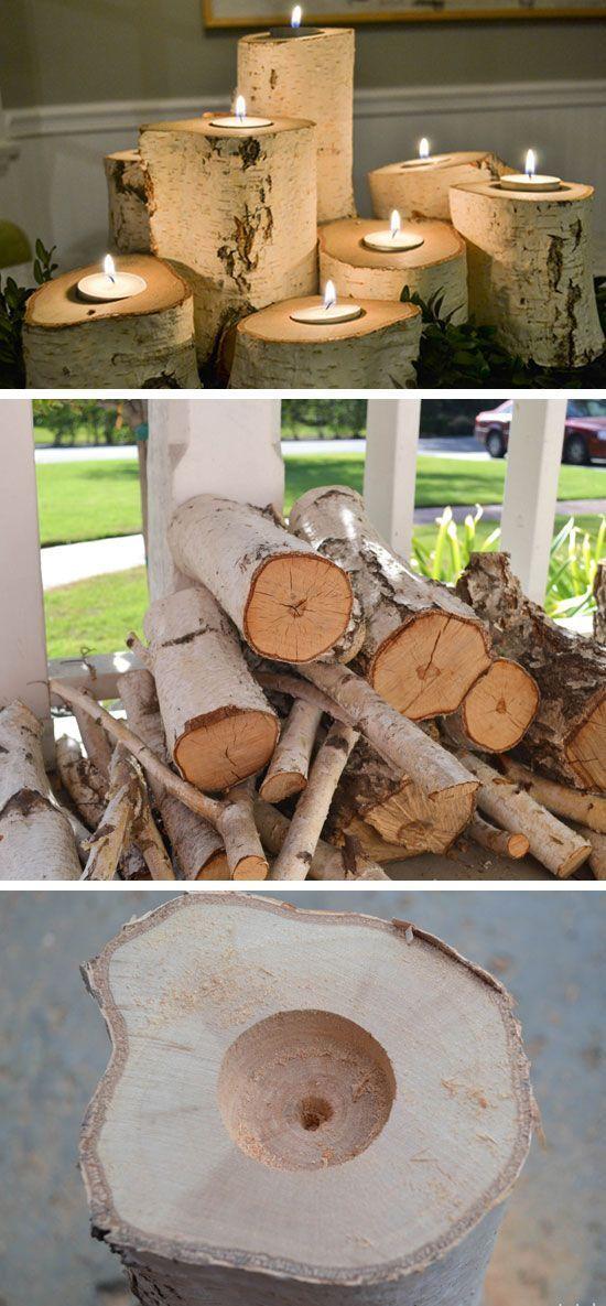 DIY Tree Stump Candle Holders.
