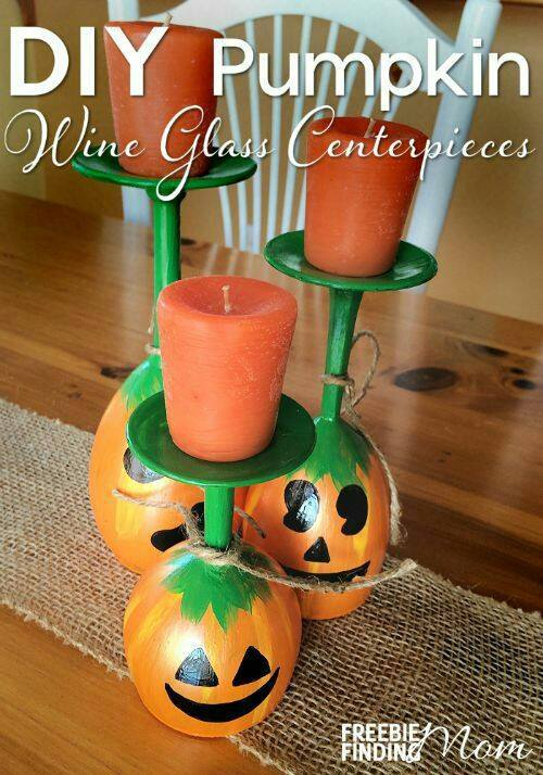 DIY Pumpkin Wine Glass Centerpieces.