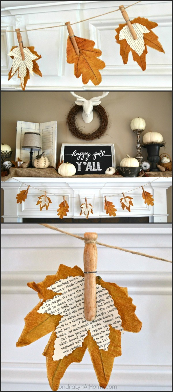 Fall Banner With Book Page Leaves for Mantel Decoration.