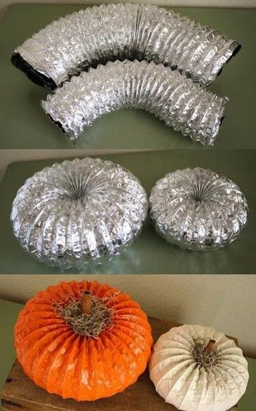 Use a Dryer Vent to make Pumpkins.