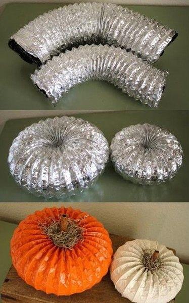 Use a Dryer Vent to make Pumpkins.