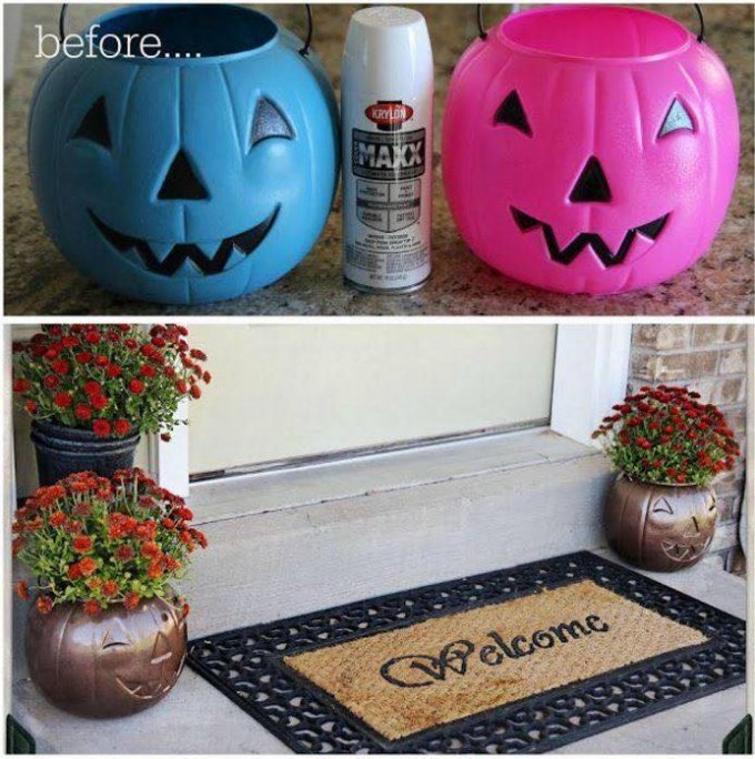Turn Plastic Pumpkins into Outdoor Planters.