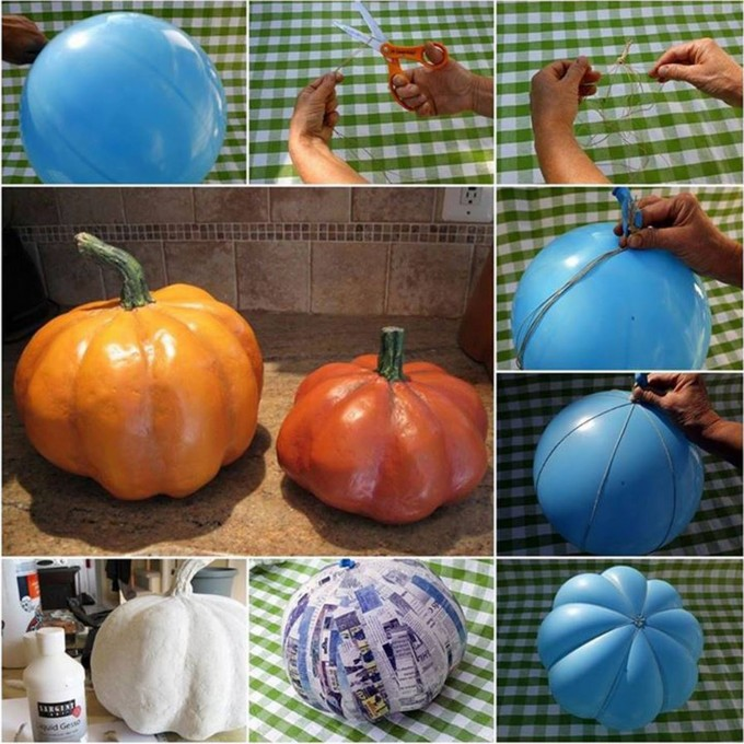 Pumpkins Created Out of Paper and Balloon.