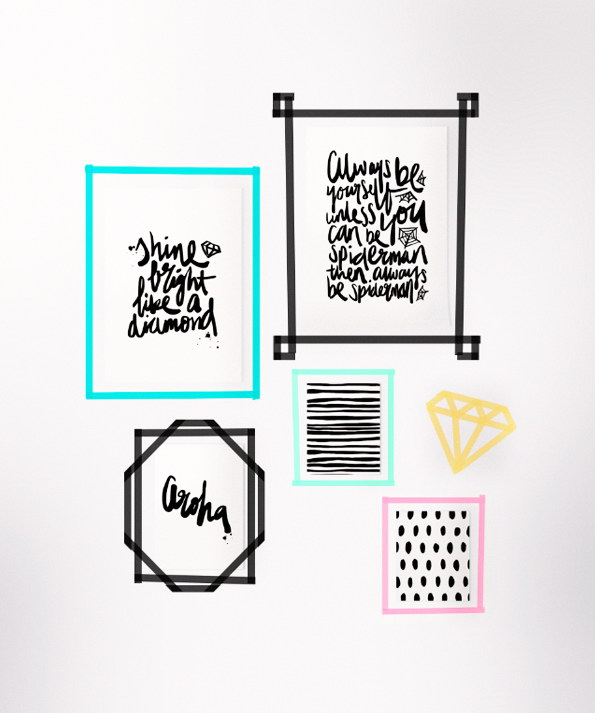 DIY Washi Tape Frames with Prints.