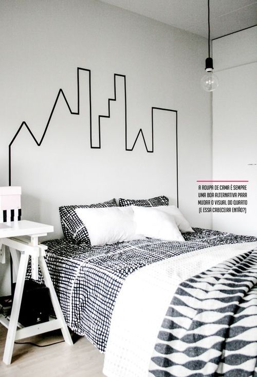 20 diy washi tape wall art ideas for Habitacion tumblr blanco y negro